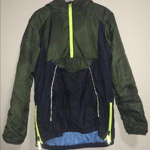 XL Youth Vintage Navy Green Neon Hoodie Jacket